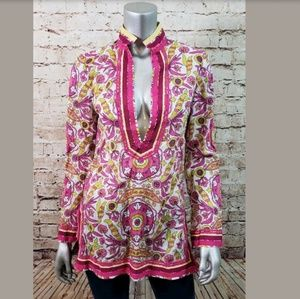 Tory Burch Paisley Long Sleeve Tunic Top Size 4